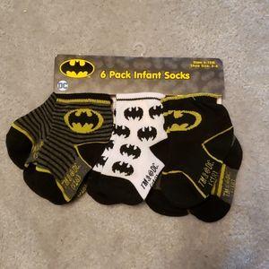 NEW 6 Pack Infant Batman Socks